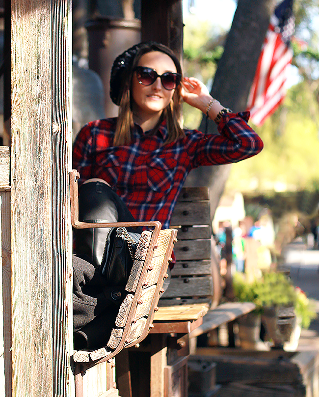 Fall Style: Plaid Shirt + Sequin Beanie