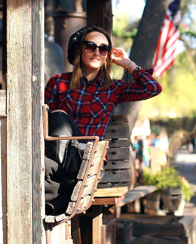Fall Style: Plaid Shirt + Sequin Beanie