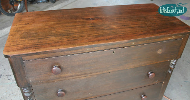 sanded and refinished antique dresser top stain finish makeover