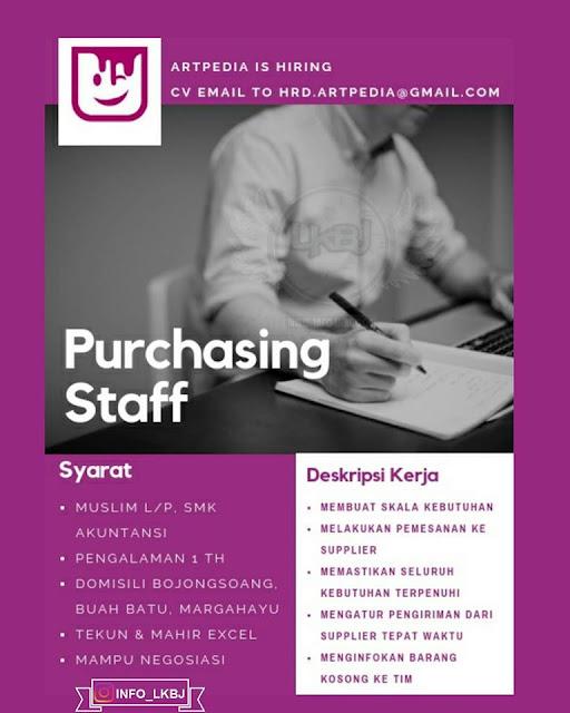 lowongan kerja purchasing staff artpedia