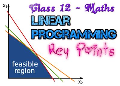 CBSE Class 12 - Mathematics - Linear Programming (Key Points) (#cbsenotes)(#eduvictors)