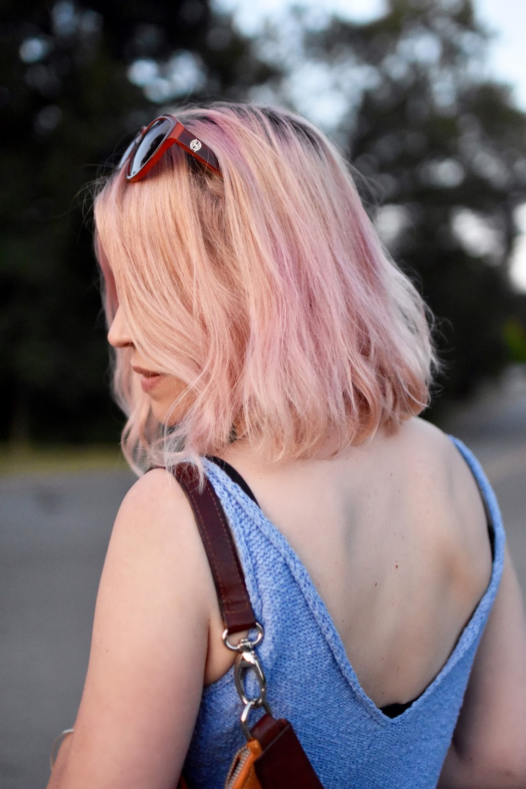 Monika Faulkner personal style inspiration - pink hair, knit tank top, House of Harlow 1960 sunglasses