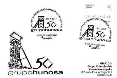 Tarjeta con el matasellos del 50 aniversario de Hunosa en Gijón