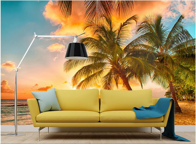 beach wall mural ocean tropical palm tree mural nature landscape wallpaper beautiful sunset on the beach 3D photo mural for bedroom living room