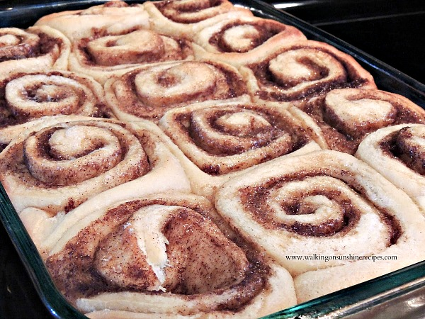 Cinnamon Rolls fresh from the oven on Walking on Sunshine Recipes
