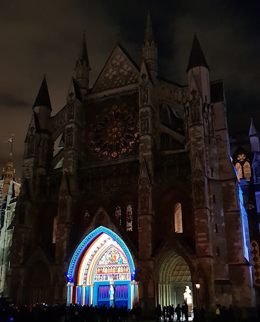 Westminster Abbey illuminated for Lumiere London 2018