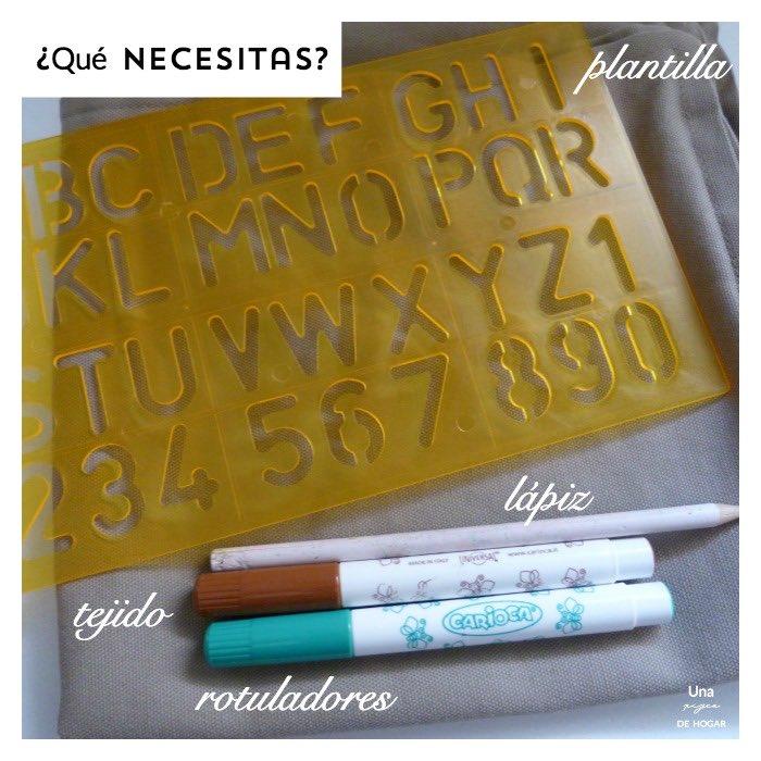 materiales para decorar telas con rotuladores y plantilla
