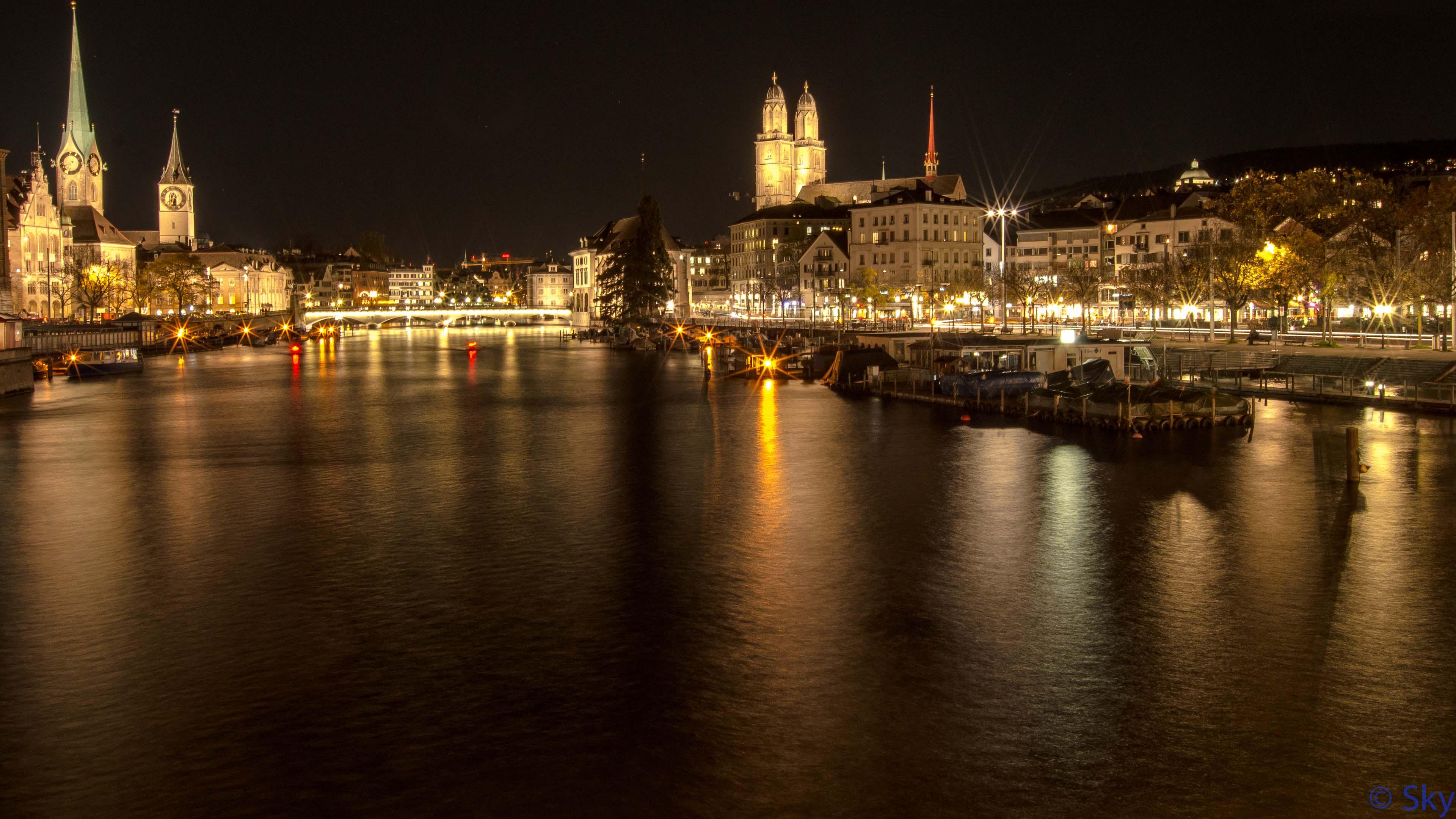 wallpaper zurich city lights ultra hd 4k 3840x2160
