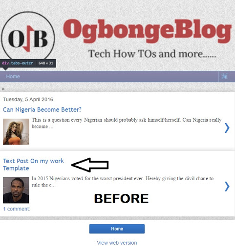 Blogger Mobile Title