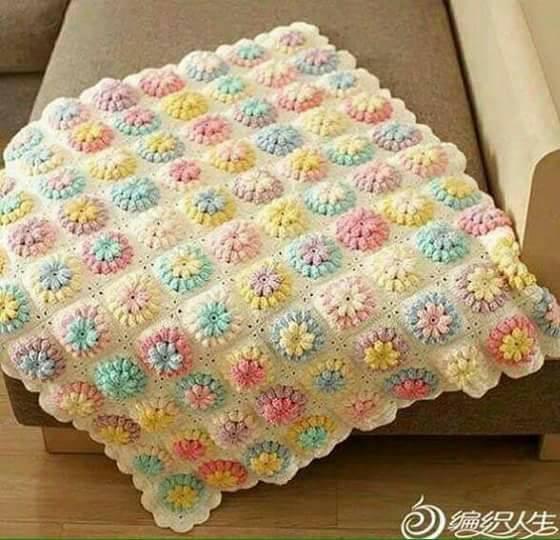Patrón # Como tejer una linda manta a crochet