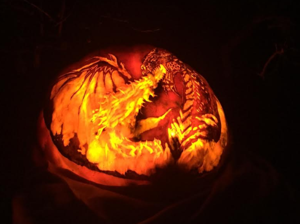 Fire breathing dragon jack o lantern at Chicago Botanic Garden