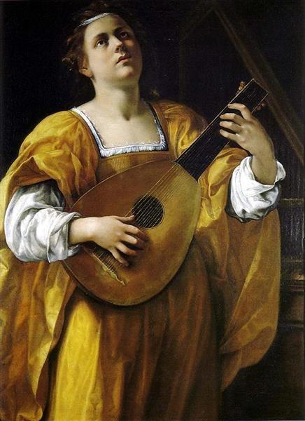 Gentileschi Святая Цецилия играет на лютне
