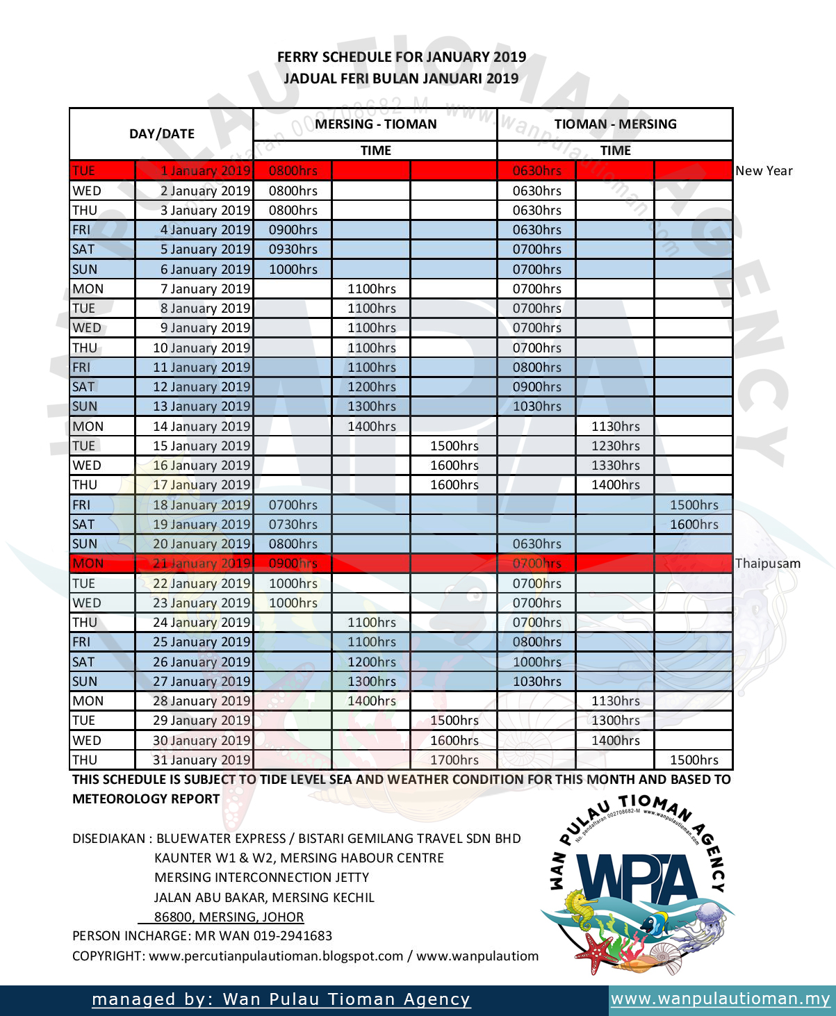 Tioman Transfer Ferry Schedule January 2019