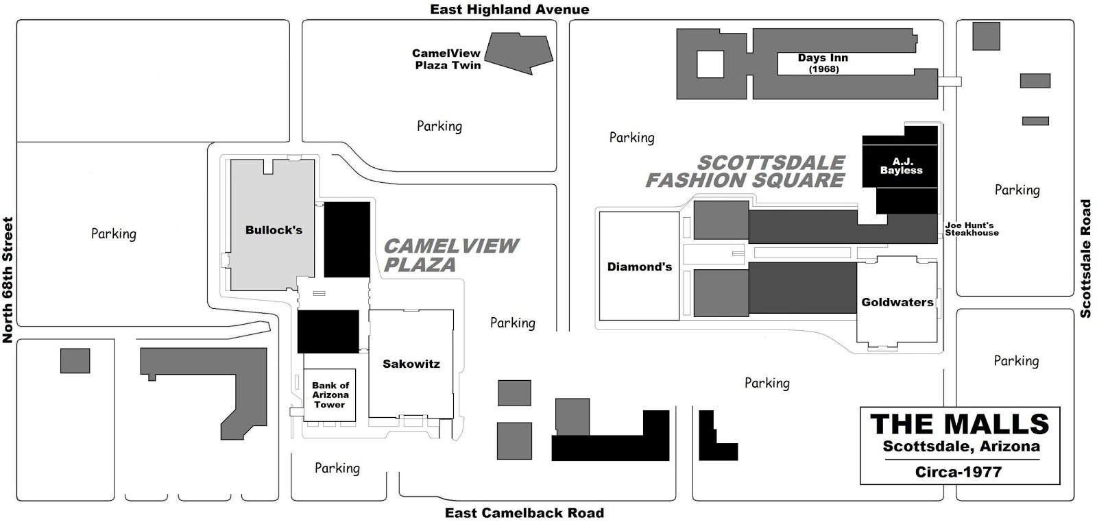 A Circa 1977 Plan Showing Two Adjacent Shopping Centers SCOTTSDALE FASHION SQUARE Originated With Five Store Plaza In Black An Open Air Mall Dark