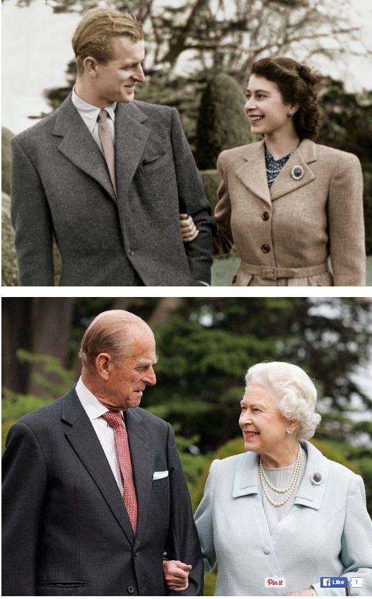 الملكة اليزابيث والامير فيليب يتشاركان نفس الابتسامات في نفس المكان الذي جمعهما في عام 1947