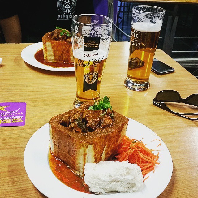 Hollywood Mutton Bunny Chow and Black Label Beer - Durban, Springfield Park Durban