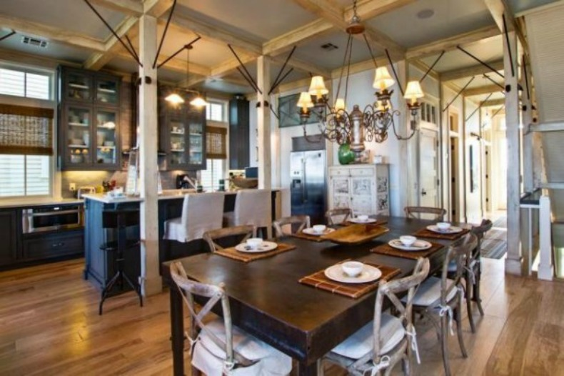 coastal kitchen and dining room