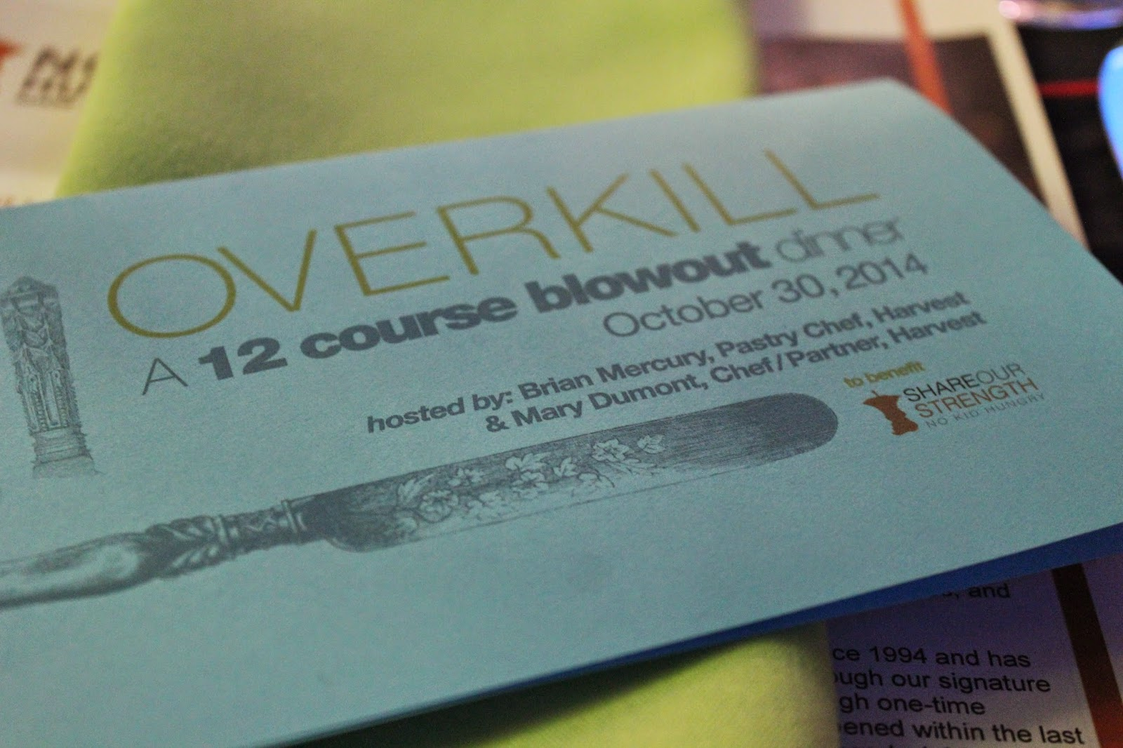 Overkill, a 12-course dinner benefiting No Kid Hungry
