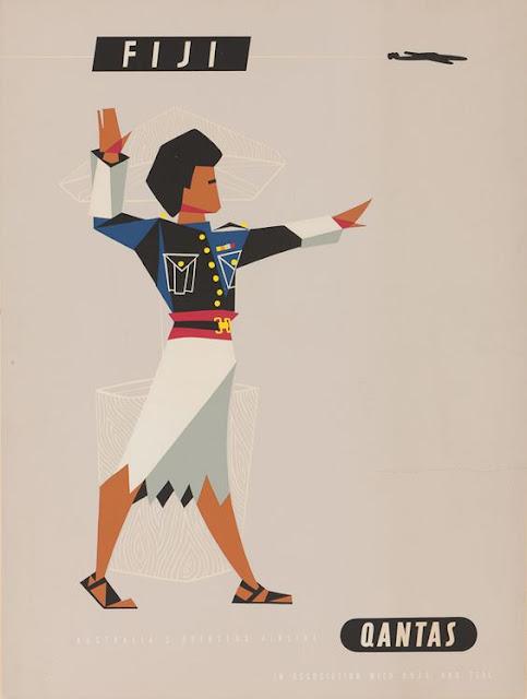 Quantas - Fiji Vintage Travel Poster