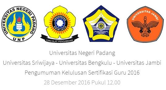 Hasil Sertifikasi Guru Dalam Jabatan Tahun 2016 Rayon 106 UNP, 104 UNSRI, 103 UNIB, 108 UNJA