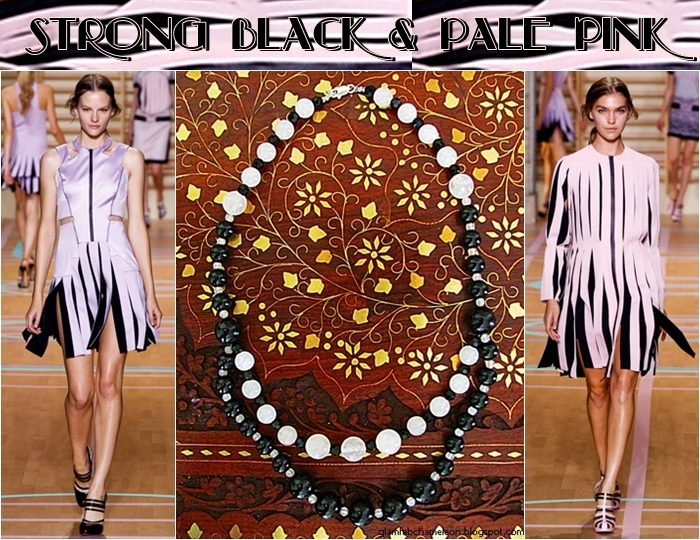 Glam Chameleon Jewelry round black agate and round rose-quartz necklace
