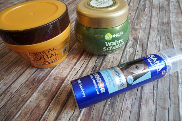 L'Oréal - Öl Magique Nährende Balsam Maske, Garnier - Wahre Schätze Tiefenpflege-Maske Mythische Olive, Isana - Haarspray
