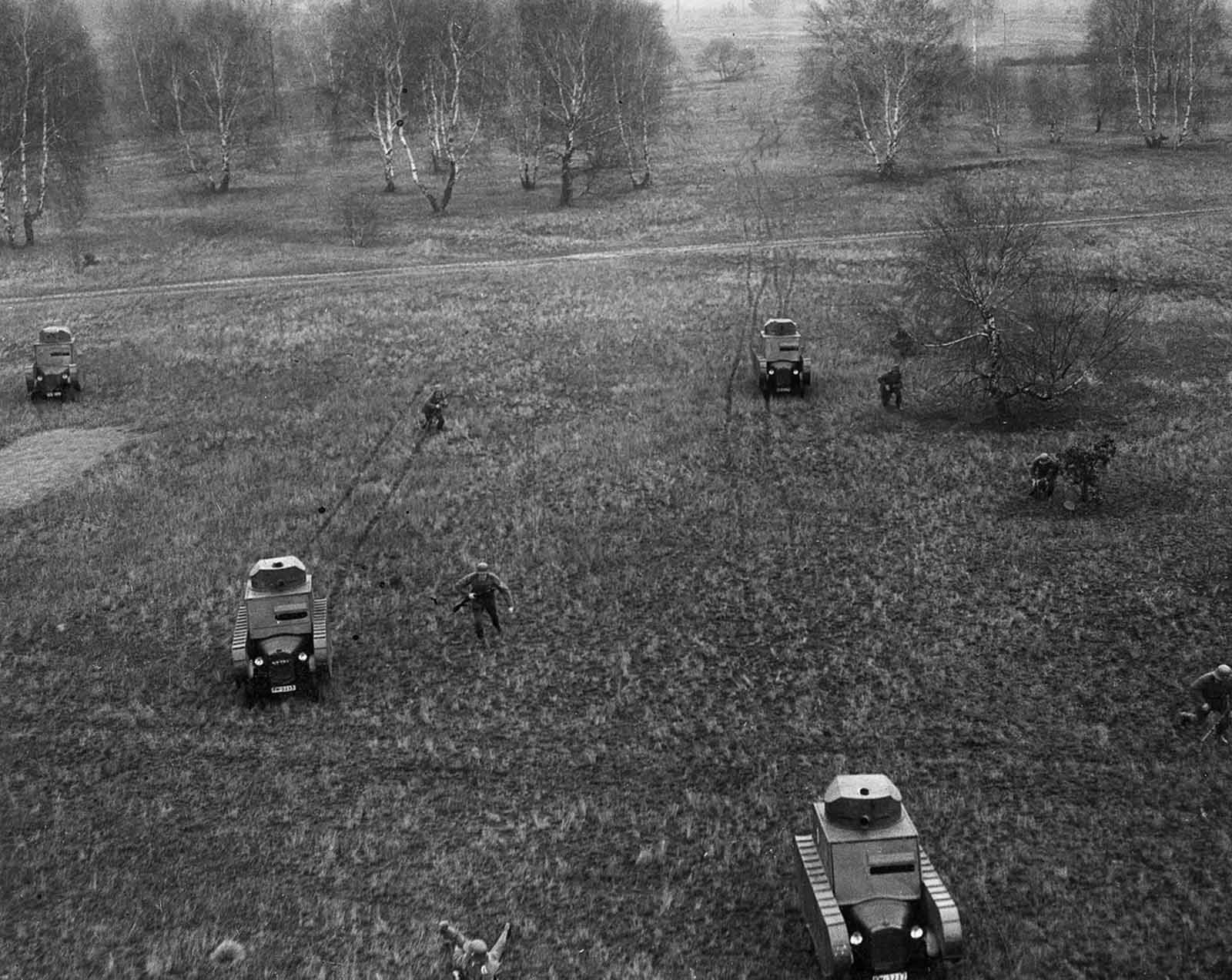 Germans conduct military exercises with dummy tanks. 1932.