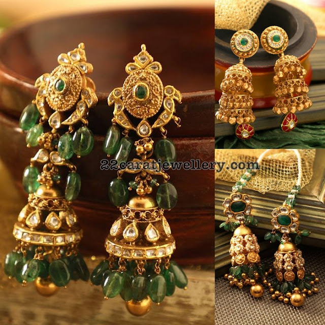 Antique and Kundan Jhumkas with Emerald Drops