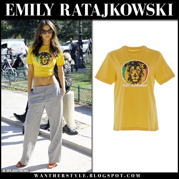 Alessandra Ambrosio in yellow lion print t-shirt paco rabanne fashion week style september 27