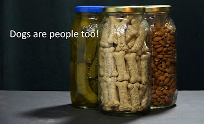 Sealed jars of pickles, almonds and dog biscuits