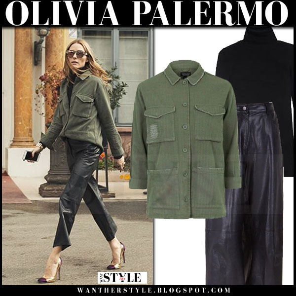Olivia Palermo in khaki olive green topshop shirt and black leather tibi anesia pants pfw front row what she wore