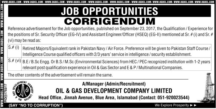 Jobs in Oil and Gas Development Company Ltd Islamabad Oct 2017