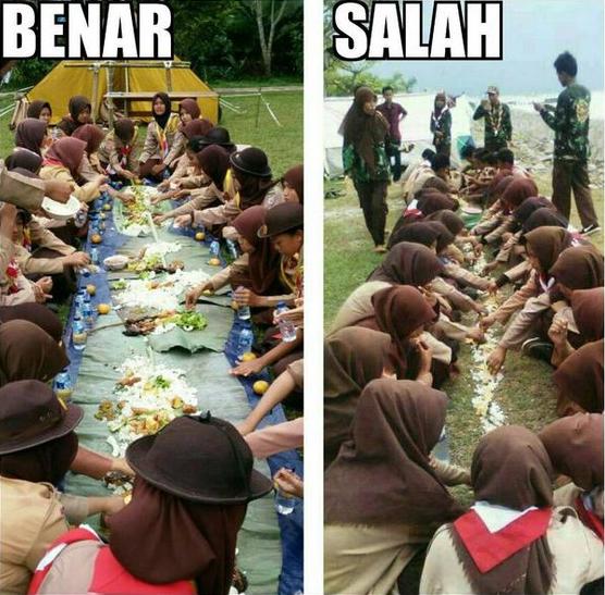 Pramuka Makan di Atas Tanah