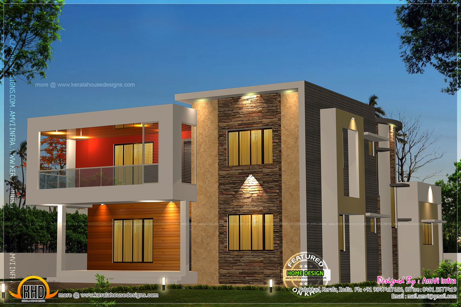 5 bedroom contemporary house with plan kerala home for Modern kerala style house plans with photos