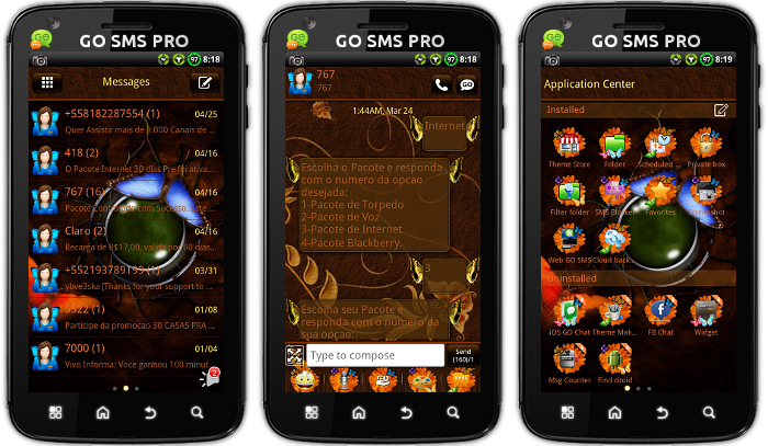 Android Themes: *NEW* Butterfly GO SMS PRO Theme