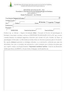 FORMULÁRIO DE REGISTRO DE AVALIAÇÃO – RAv