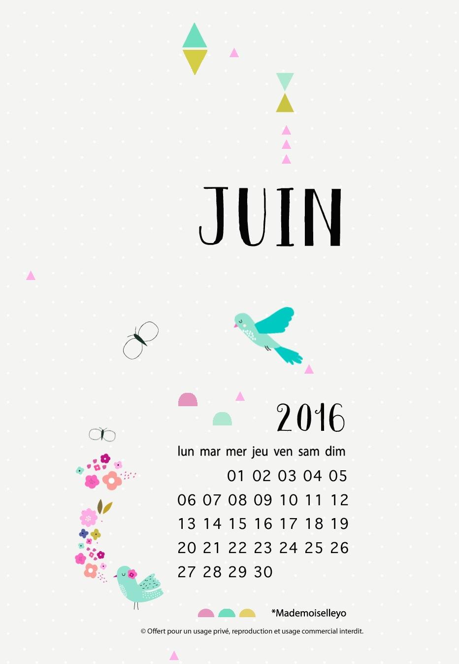 Mademoiselleyo fond d 39 cran juin - Calendrier du mois de juin 2017 ...