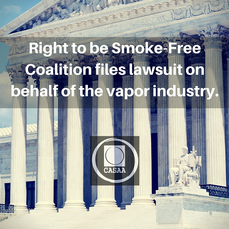Right to be Smoke-Free Coalition files lawsuit on behalf of vapor