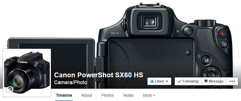 Visit / Like the new Canon PowerShot SX60 HS Camera Facebook Page