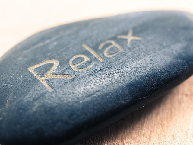 "Rock with words ""Relax"" engraved"