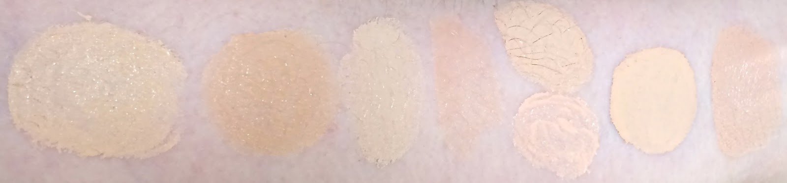 Swatches After Dry Down And In Natural Light. The Perfectionist Brightening  Serum+Concealer Is 3rd From The Right.