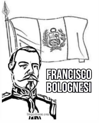 Francsco Bolognesi colorear dibujo  bandera de Perú