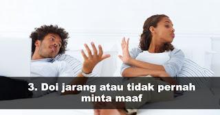 Pasangan kamu dikatakan egois saat Doi jarang atau tidak pernah minta maaf
