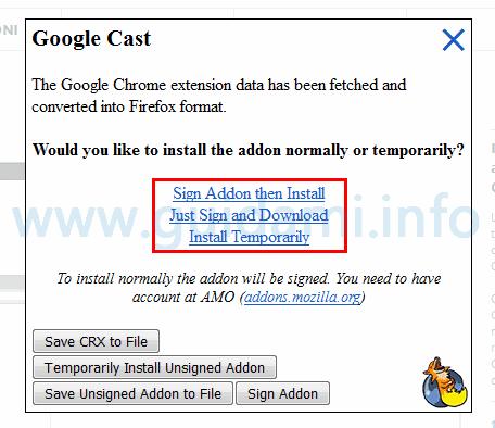 Opzioni installazione estensione Chrome su Firefox