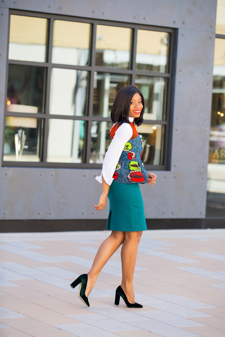 Jcrew pencil skirt and ankara peplum top, www.jadore-fashion.com