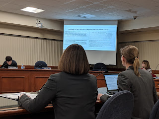 School Business Administrator Miriam Goodman and Superintendent Sara Ahern presenting the School Budget proposal for FY 2020