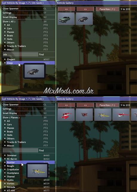 gta sa san mod lua vehicle car spawner visual gui mouse photos