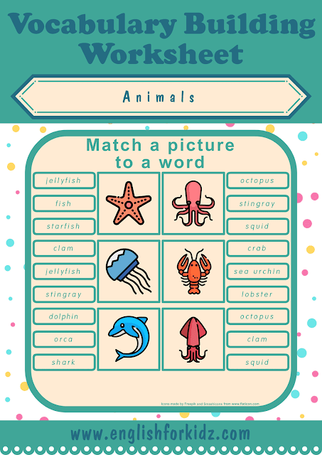 Sea animals worksheet - picture to word matching - free ESL printables