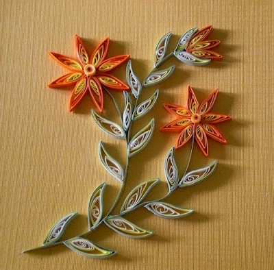 Quilling colourful flower bouquet designs on wood - quillingpaperdesigns