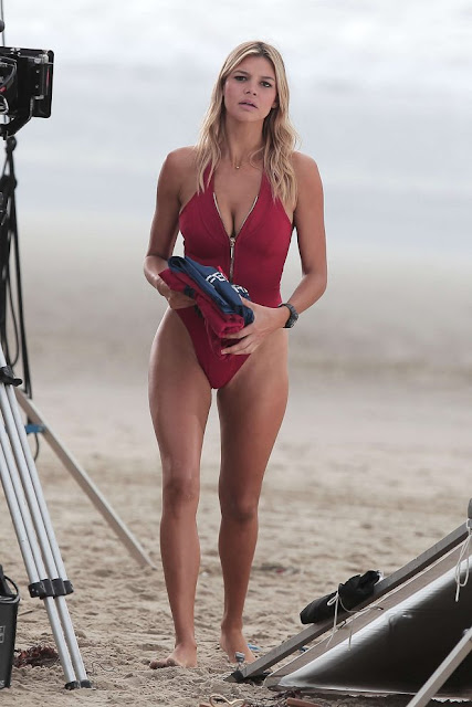 Kelly Rohrbach on 'Baywatch' set on Venice Beach